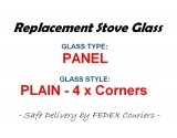 Euroflam [EUROFLAM CAPTAIN] Stove Glass [Plain Panel] - Heat Resistant Ceramic Stove Door Glass 526mm x 305mm x 4mm